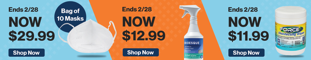 Full Page Banner Ad – Save on Disinfectant, Masks, Thermometers and More – Click to View Page