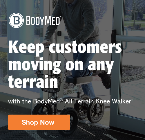 Half Page Ad – Shop the BodyMed® All Terrain Knee Walker – Click to View Page