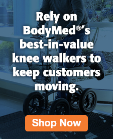 Quarter Page Ad – BodyMed Knee Walkers Available at Milliken Medical – Click to View Page