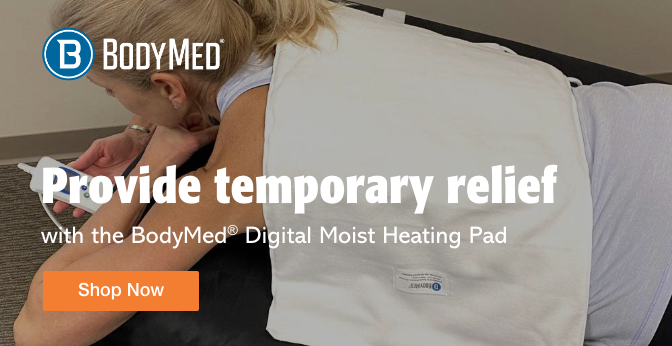 Three Quarter Page Ad – Shop the BodyMed® Digital Moist Heating Pad at Milliken Medical – Click to View Page