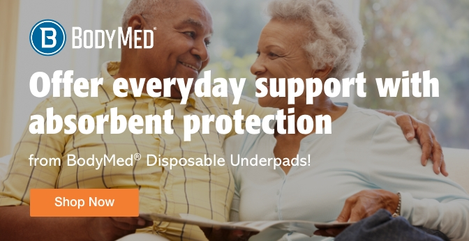 Three Quarter Page Ad – Shop BodyMed® Disposable Underpads at Milliken Medical – Click to View Page