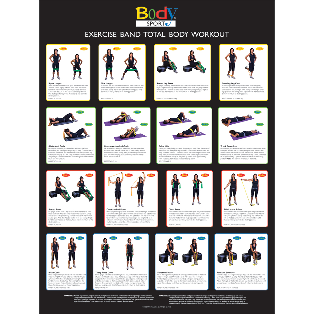 BodySport Resistance Tube & Band Exercise Chart - Click to Shop