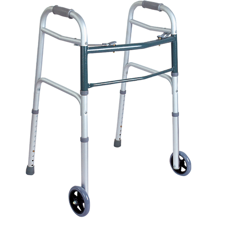 This lightweight, aluminum walker has a two-button design to allow each side to fold in independently.