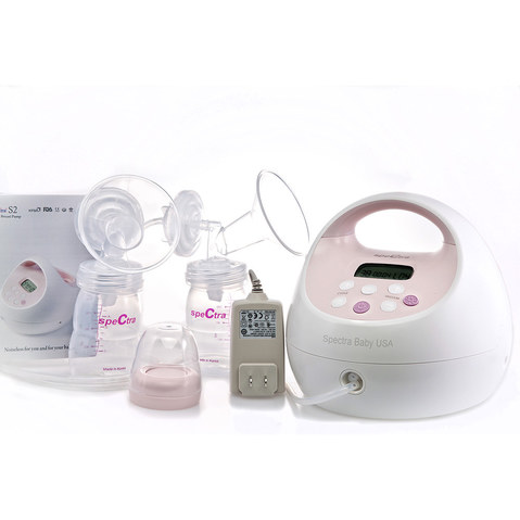 The Spectra S2 Plus Double Electric Breast Pump with adjustable speed and suction settings.